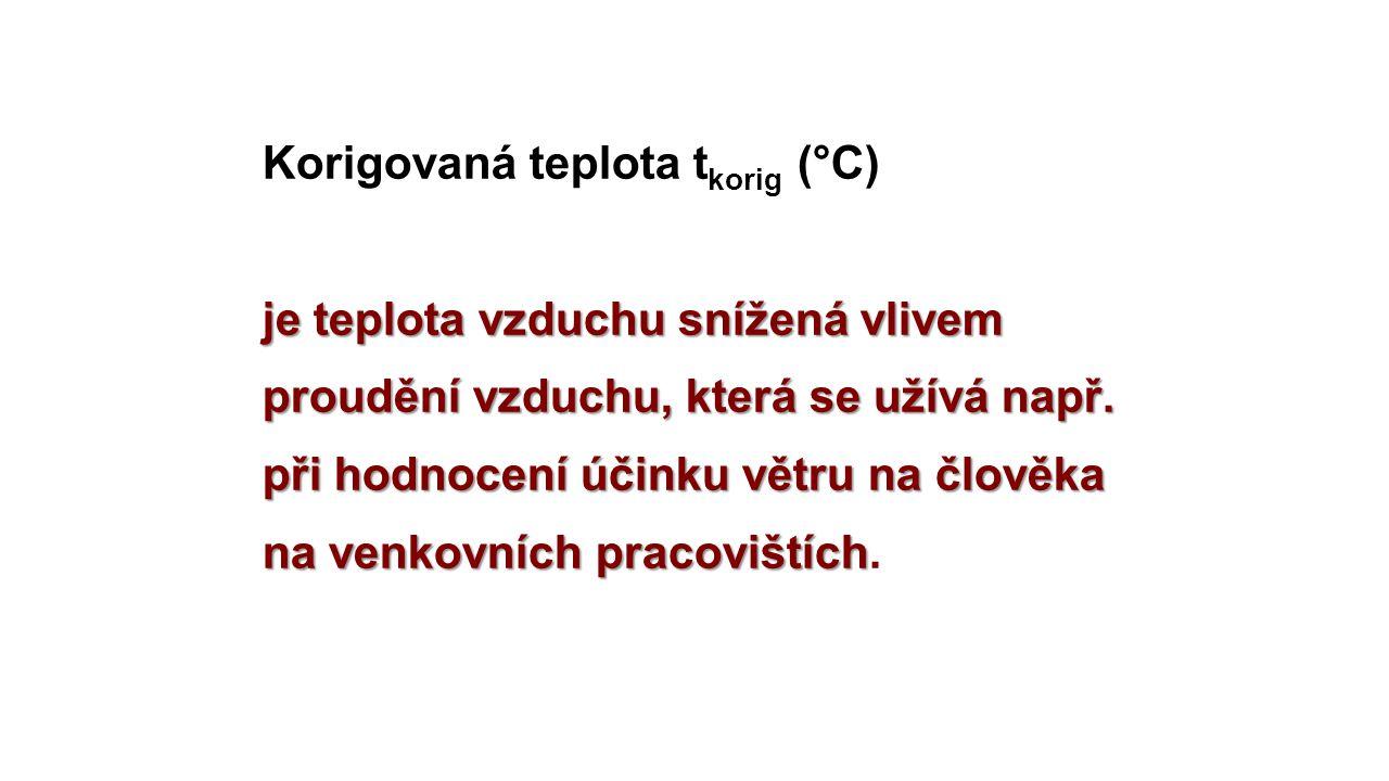 Korigovaná teplota tkorig (°C) je teplota vzduchu snížená vlivem proudění vzduchu, která se užívá např.