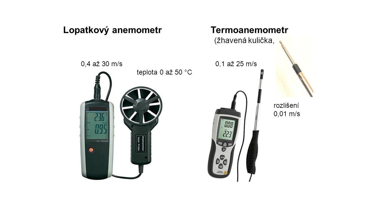 Lopatkový anemometr Termoanemometr (žhavená kulička, vlákno)