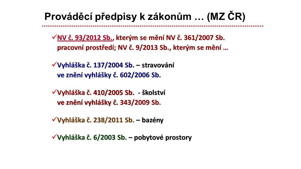 Prováděcí předpisy k zákonům … (MZ ČR)
