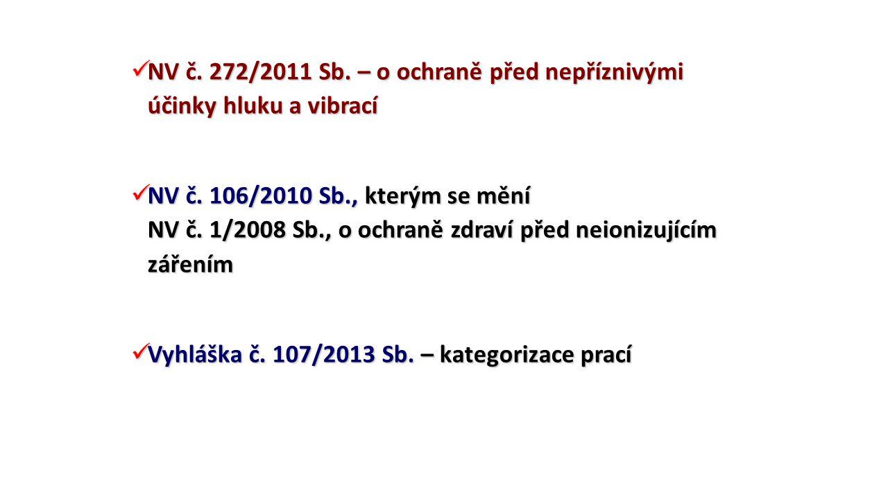 NV č. 272/2011 Sb. – o ochraně před nepříznivými účinky hluku a vibrací