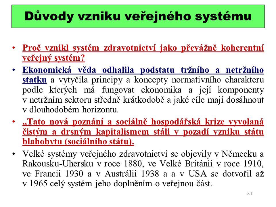 Důvody vzniku veřejného systému