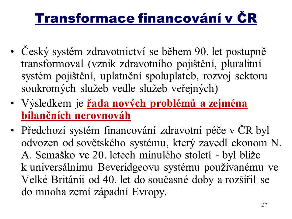Transformace financování v ČR