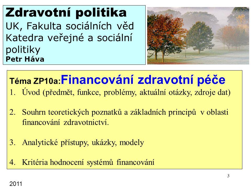 Zdravotní politika UK, Fakulta sociálních věd Katedra veřejné a sociální politiky Petr Háva