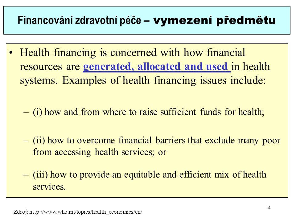 Financování zdravotní péče – vymezení předmětu