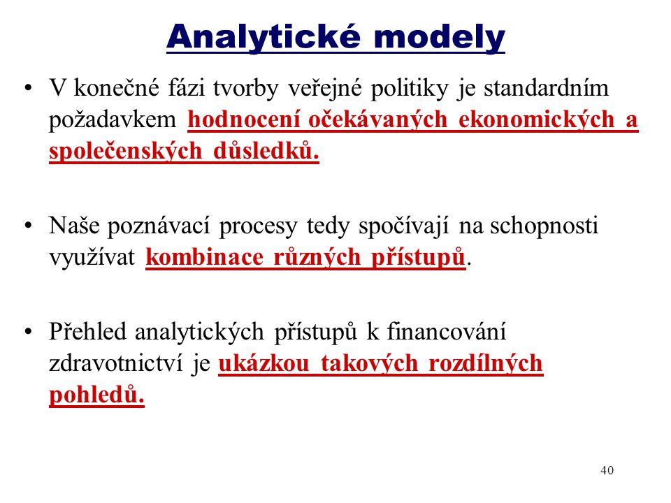 Analytické modely V konečné fázi tvorby veřejné politiky je standardním požadavkem hodnocení očekávaných ekonomických a společenských důsledků.
