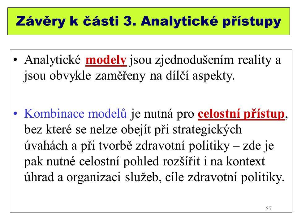 Závěry k části 3. Analytické přístupy