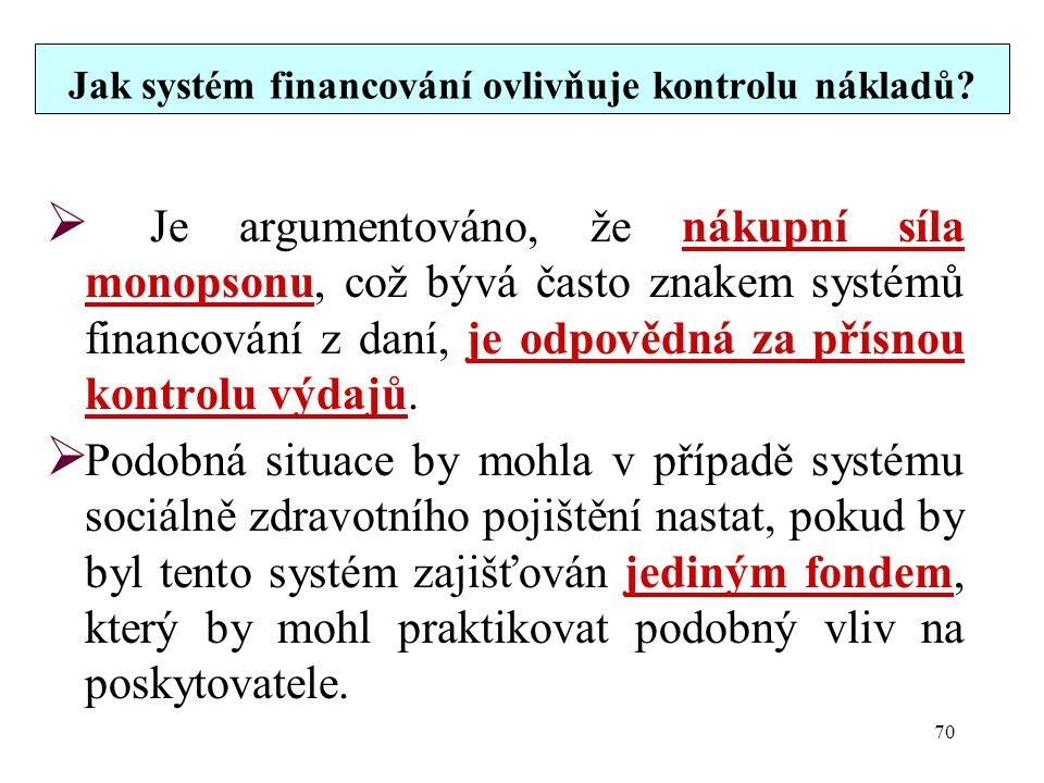 Jak systém financování ovlivňuje kontrolu nákladů