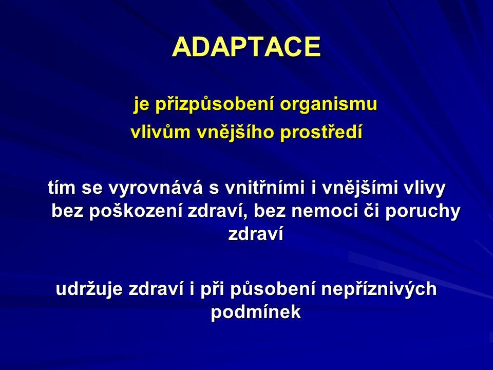 ADAPTACE je přizpůsobení organismu vlivům vnějšího prostředí