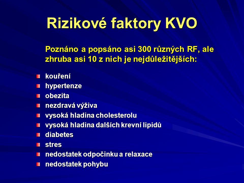 Rizikové faktory KVO Poznáno a popsáno asi 300 různých RF, ale zhruba asi 10 z nich je nejdůležitějších: