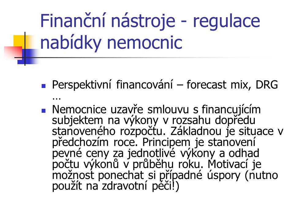 Finanční nástroje - regulace nabídky nemocnic
