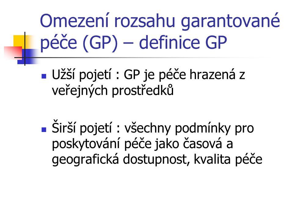 Omezení rozsahu garantované péče (GP) – definice GP