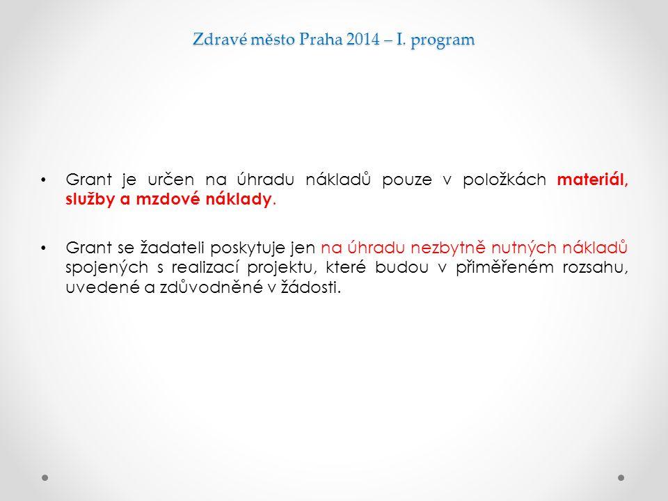 Zdravé město Praha 2014 – I. program
