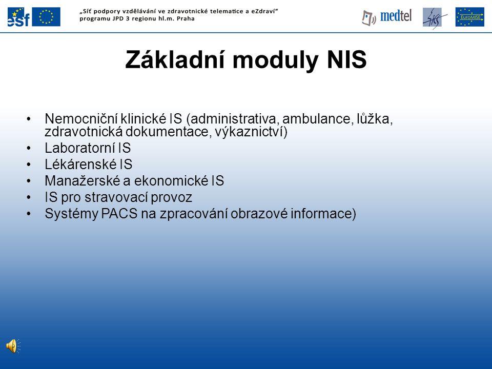 Základní moduly NIS Nemocniční klinické IS (administrativa, ambulance, lůžka, zdravotnická dokumentace, výkaznictví)