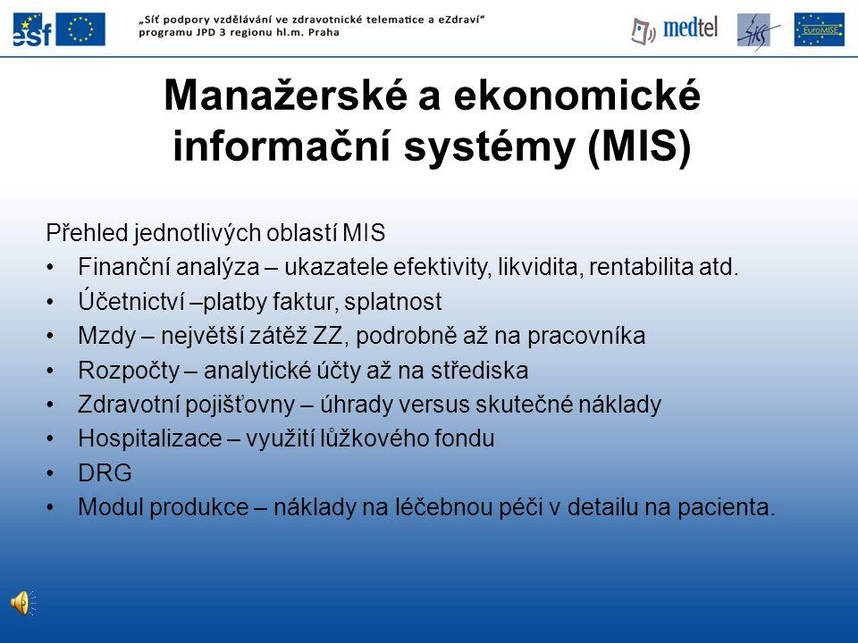 Manažerské a ekonomické informační systémy (MIS)
