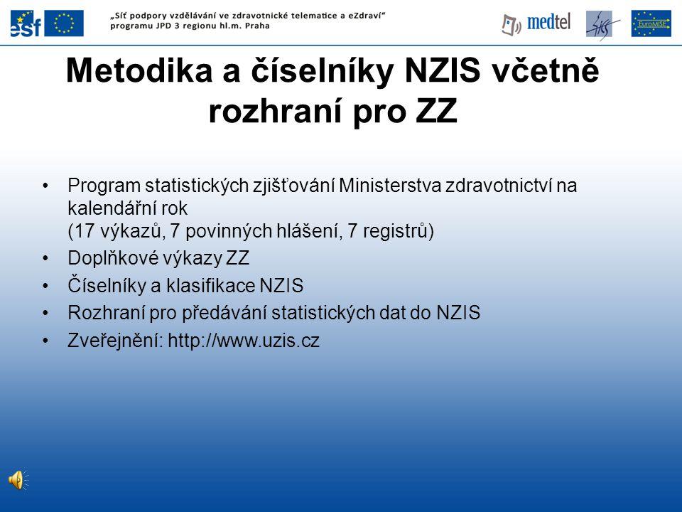 Metodika a číselníky NZIS včetně rozhraní pro ZZ