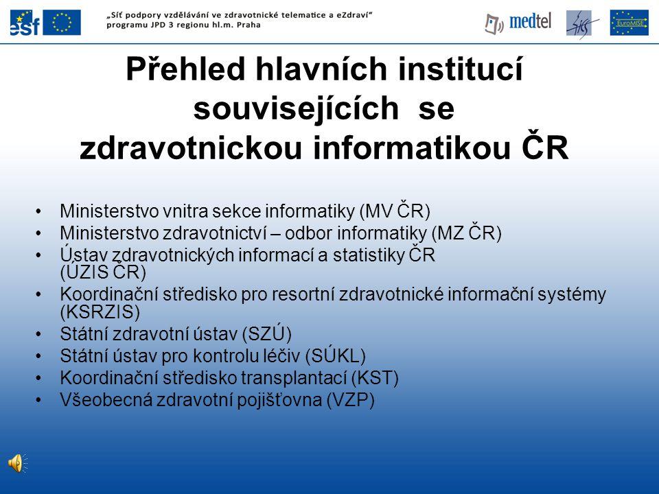 Přehled hlavních institucí souvisejících se zdravotnickou informatikou ČR