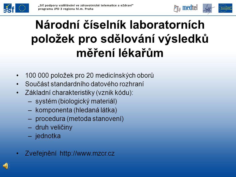 Národní číselník laboratorních položek pro sdělování výsledků měření lékařům