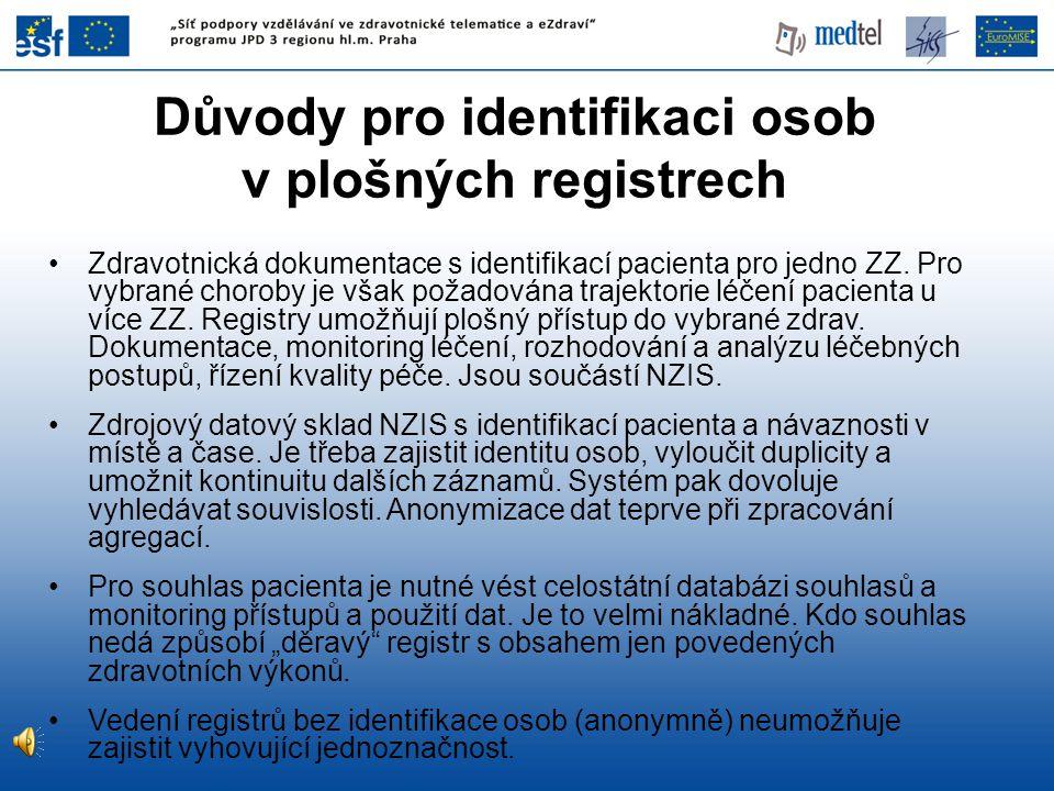 Důvody pro identifikaci osob v plošných registrech