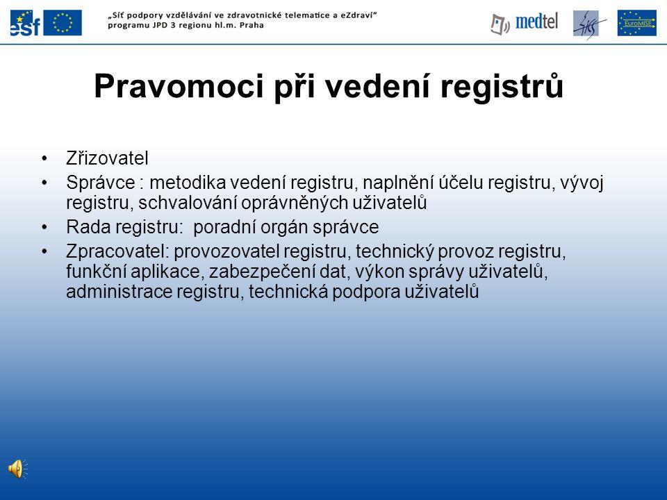 Pravomoci při vedení registrů