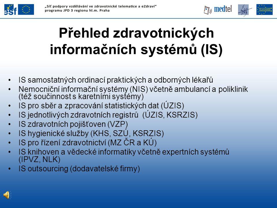 Přehled zdravotnických informačních systémů (IS)