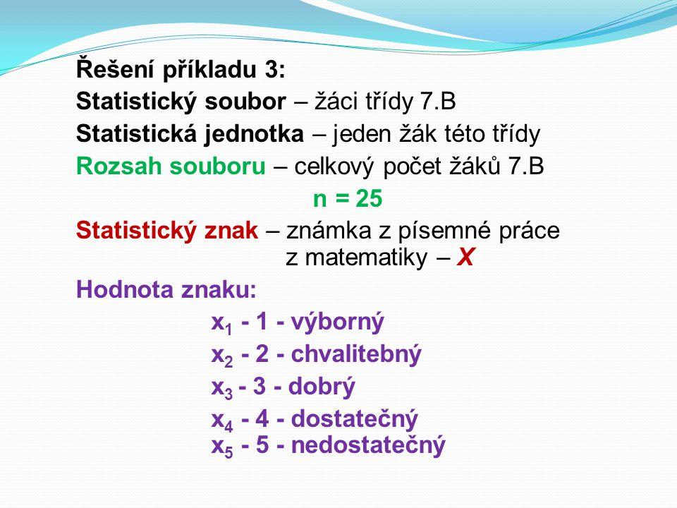Řešení příkladu 3: Statistický soubor – žáci třídy 7