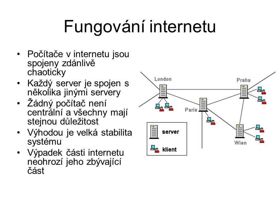 Fungování internetu Počítače v internetu jsou spojeny zdánlivě chaoticky. Každý server je spojen s několika jinými servery.