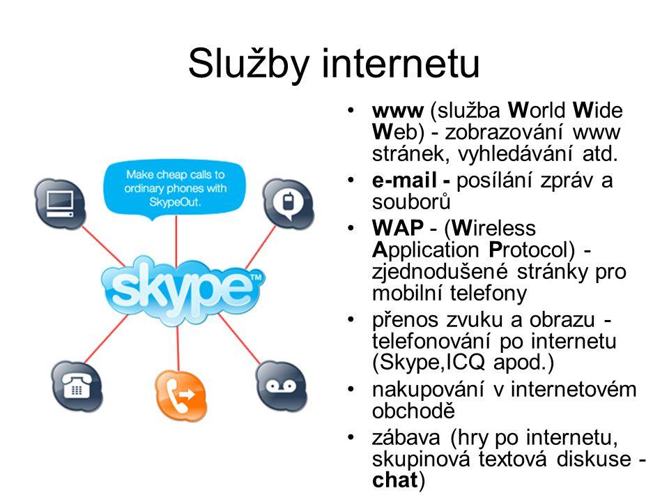 Služby internetu www (služba World Wide Web) - zobrazování www stránek, vyhledávání atd. e-mail - posílání zpráv a souborů.