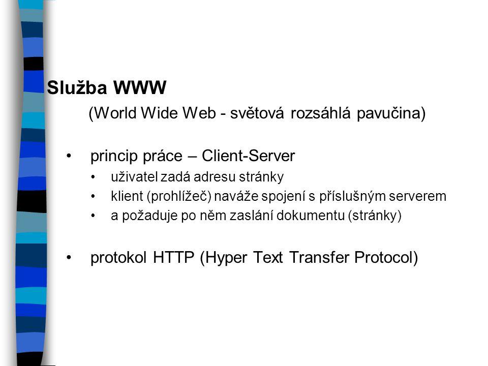 Služba WWW (World Wide Web - světová rozsáhlá pavučina)