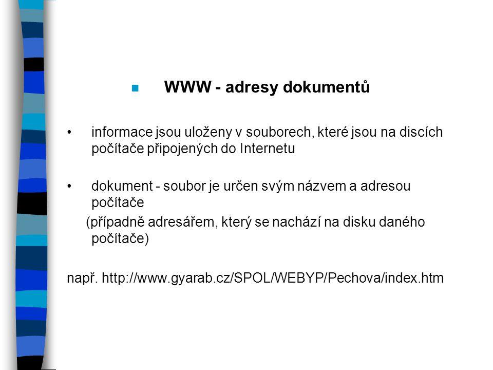 WWW - adresy dokumentů informace jsou uloženy v souborech, které jsou na discích počítače připojených do Internetu.
