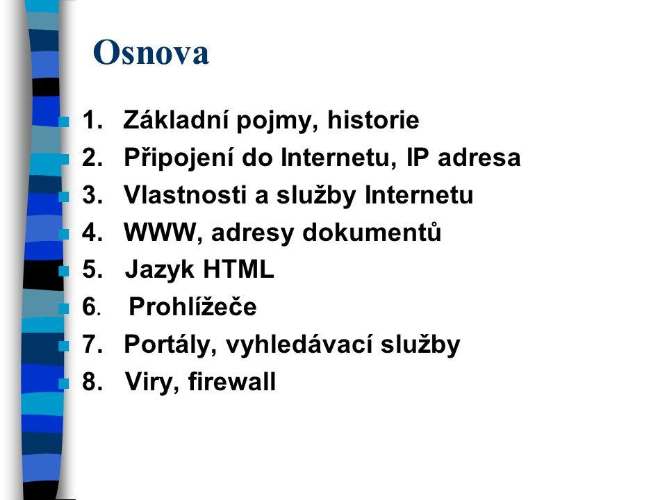 Osnova 1. Základní pojmy, historie