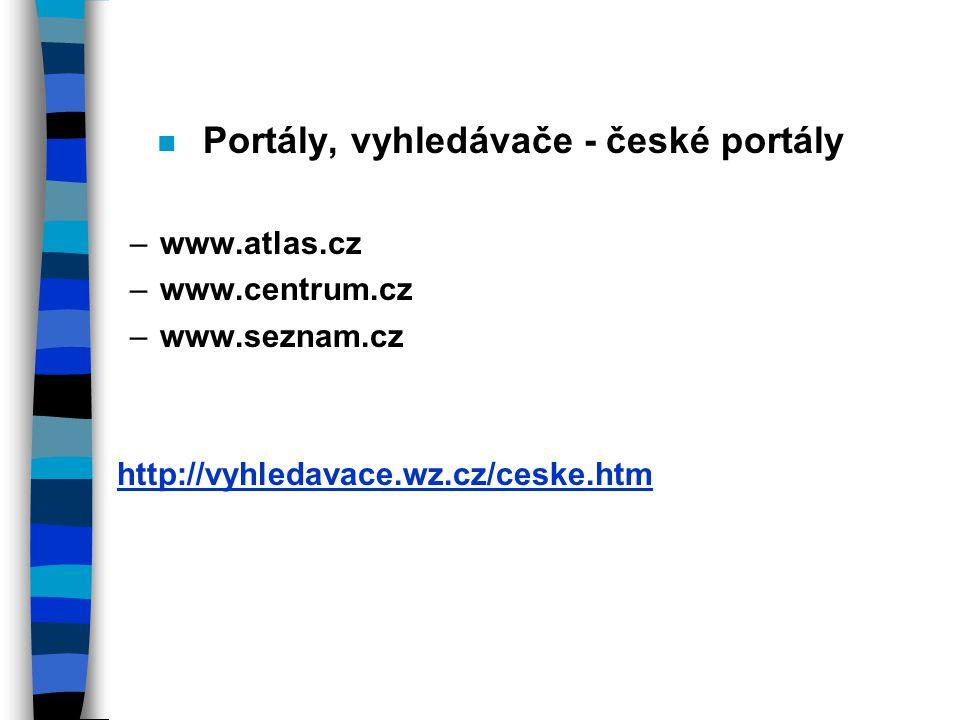 Portály, vyhledávače - české portály