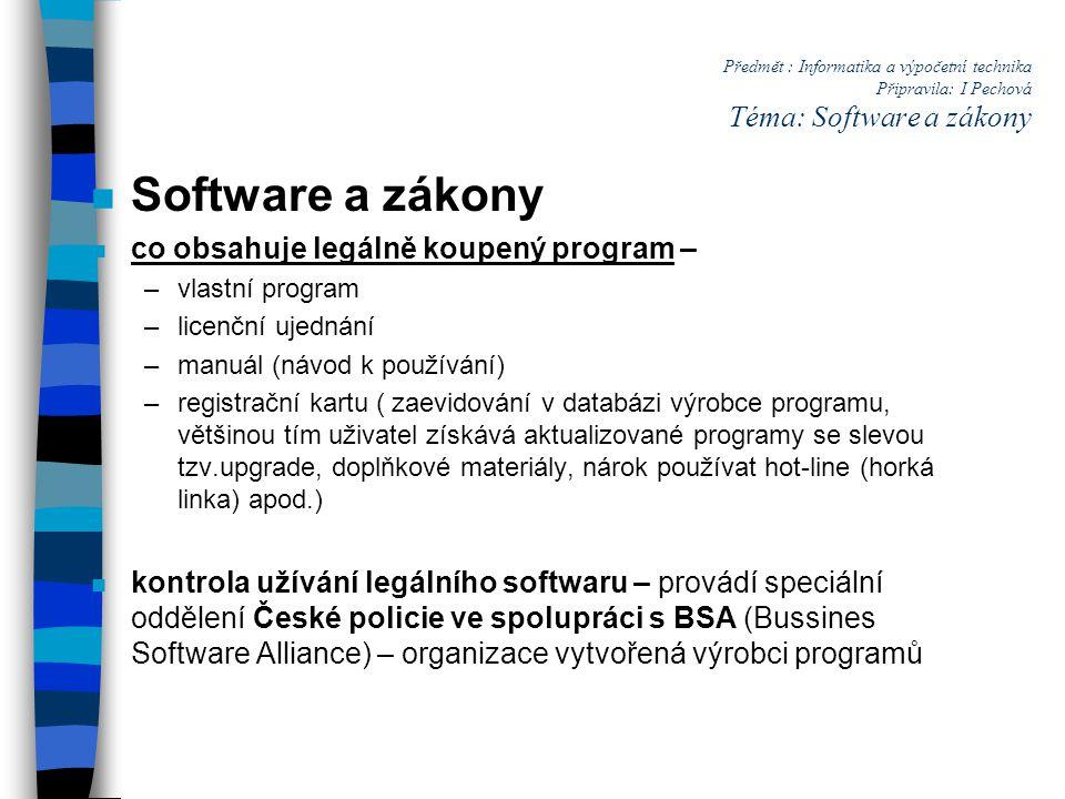 Software a zákony co obsahuje legálně koupený program –