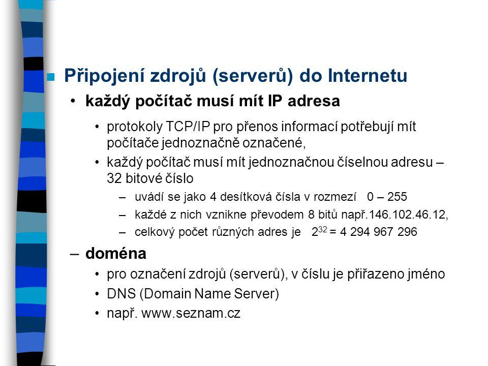 Připojení zdrojů (serverů) do Internetu