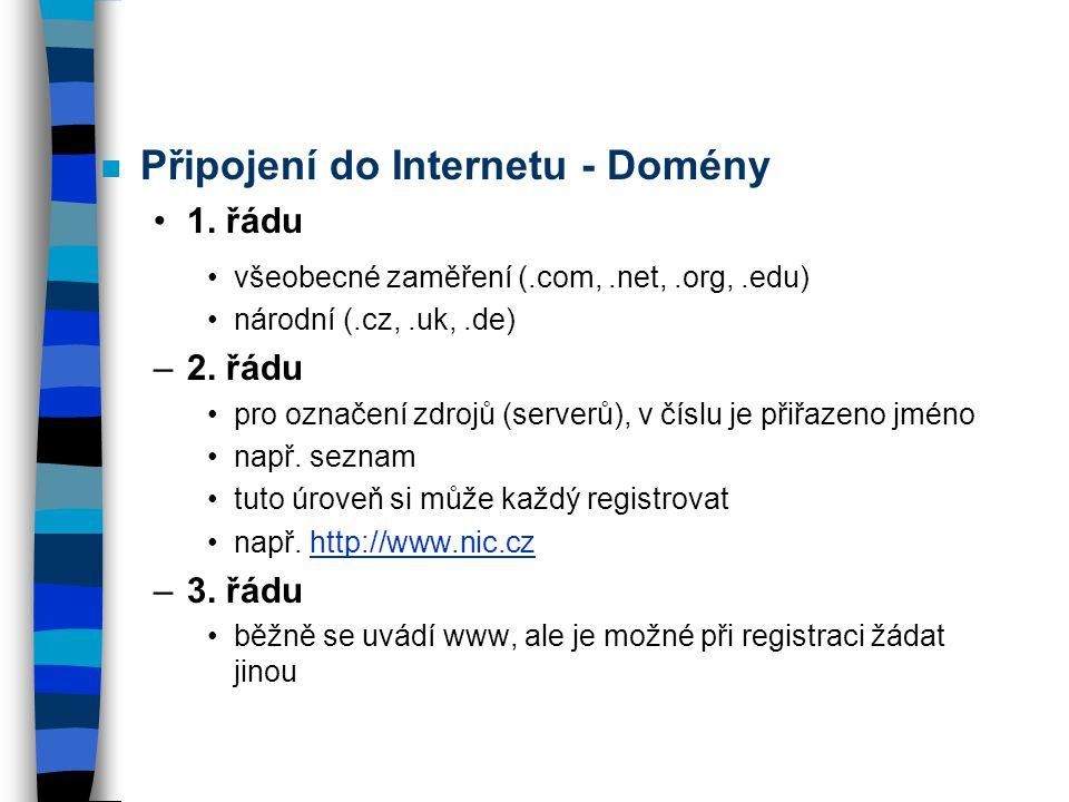 Připojení do Internetu - Domény
