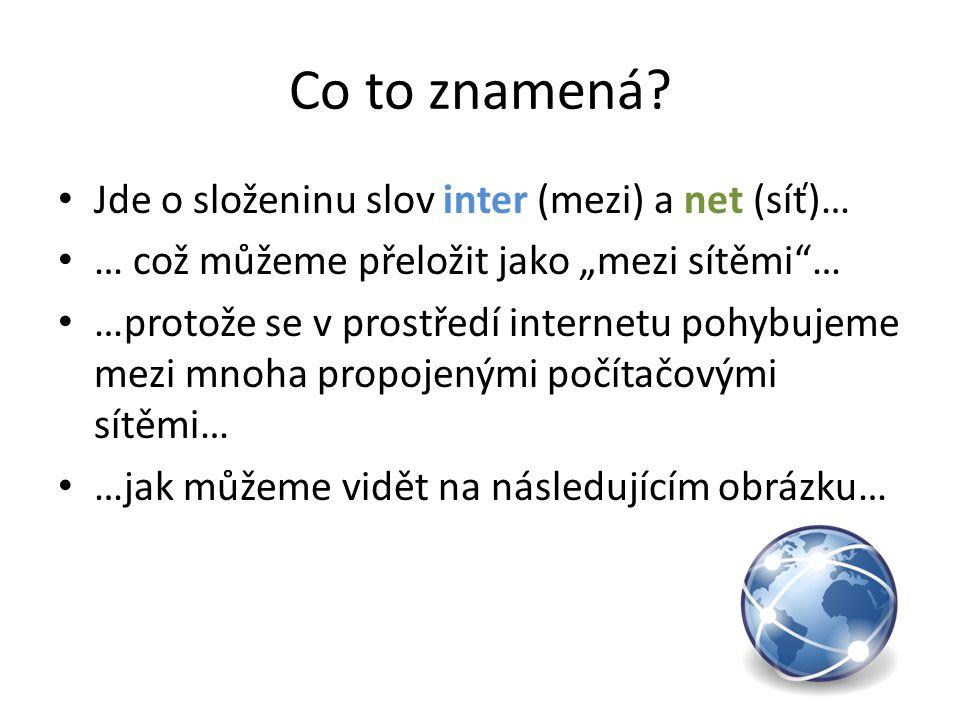 Co to znamená Jde o složeninu slov inter (mezi) a net (síť)…