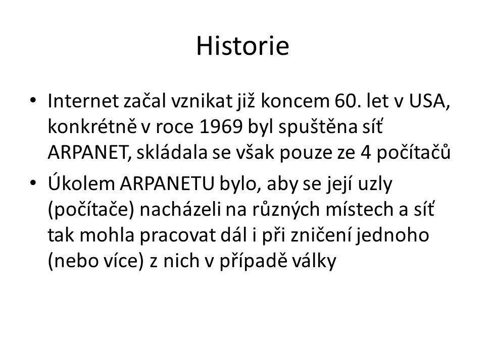 Historie Internet začal vznikat již koncem 60. let v USA, konkrétně v roce 1969 byl spuštěna síť ARPANET, skládala se však pouze ze 4 počítačů.