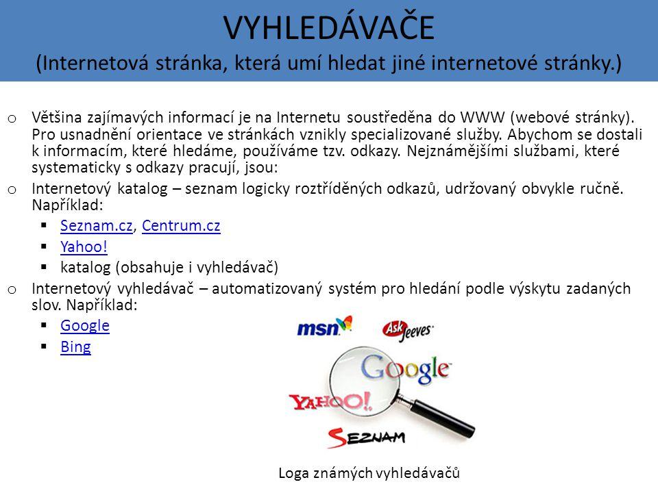VYHLEDÁVAČE (Internetová stránka, která umí hledat jiné internetové stránky.)