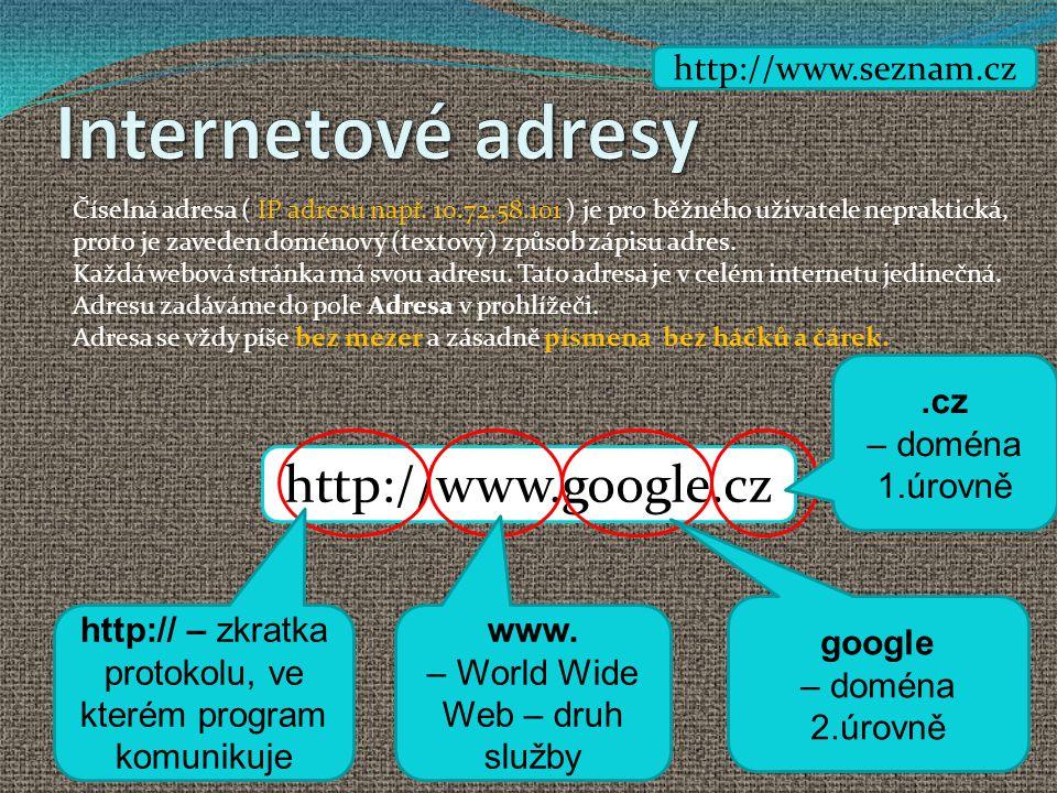 Internetové adresy http://www.google.cz http://www.seznam.cz .cz