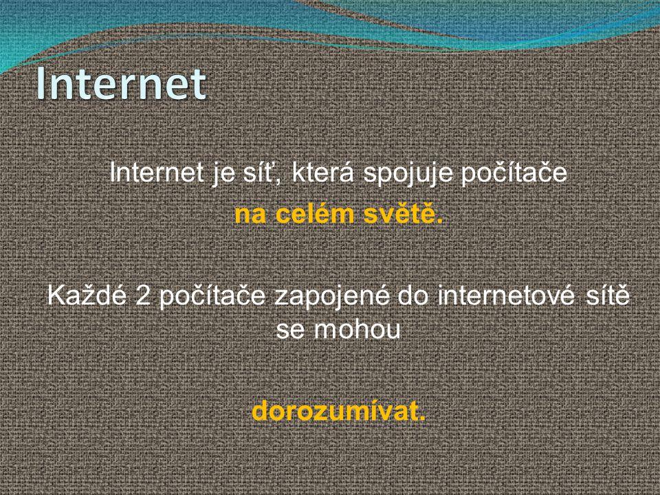 Internet Internet je síť, která spojuje počítače na celém světě.