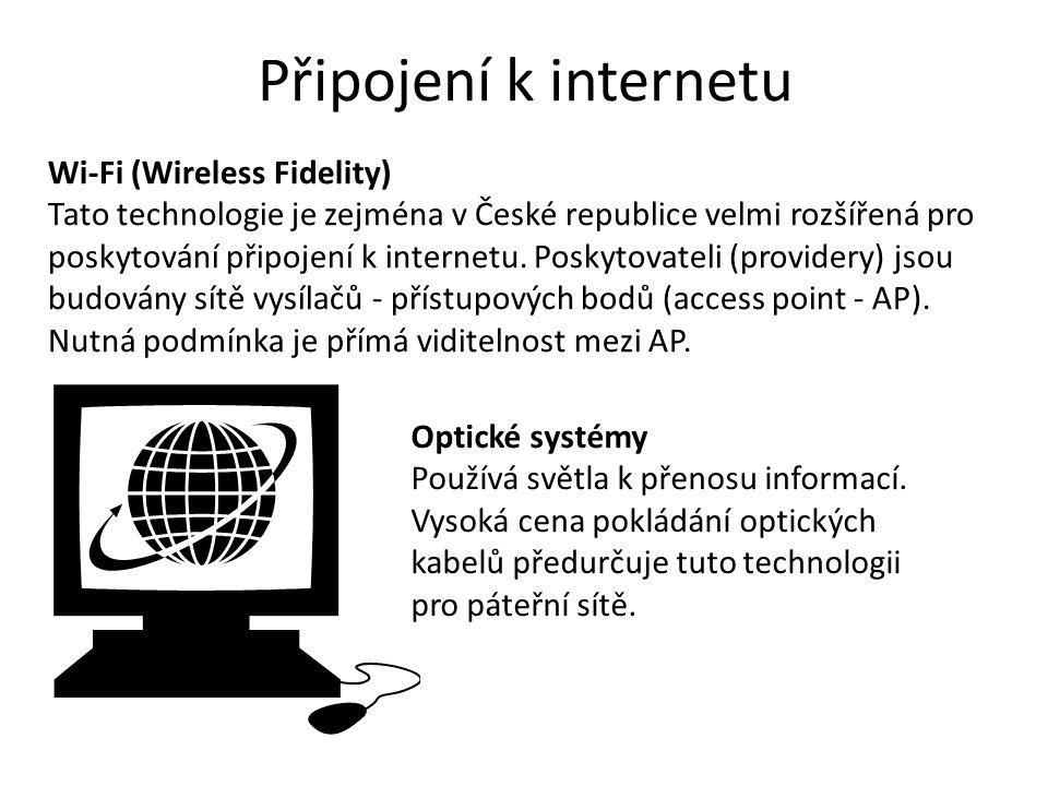 Připojení k internetu Wi-Fi (Wireless Fidelity)
