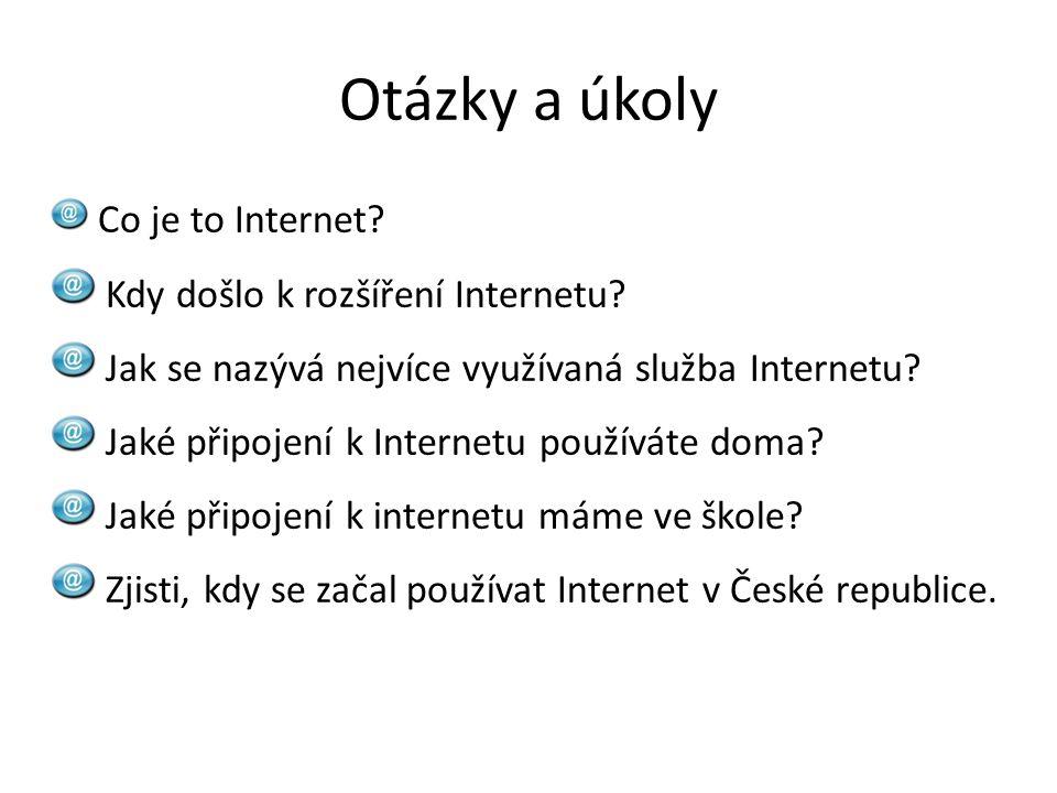 Otázky a úkoly Kdy došlo k rozšíření Internetu