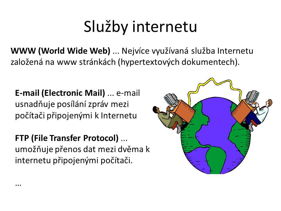 Služby internetu WWW (World Wide Web) ... Nejvíce využívaná služba Internetu založená na www stránkách (hypertextových dokumentech).