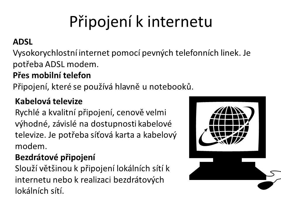 Připojení k internetu ADSL