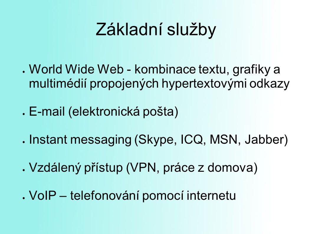 Základní služby World Wide Web - kombinace textu, grafiky a multimédií propojených hypertextovými odkazy.