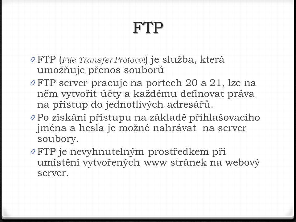 FTP FTP (File Transfer Protocol) je služba, která umožňuje přenos souborů.