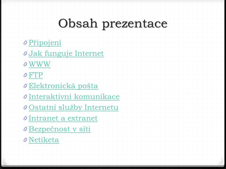 Obsah prezentace Připojení Jak funguje Internet WWW FTP