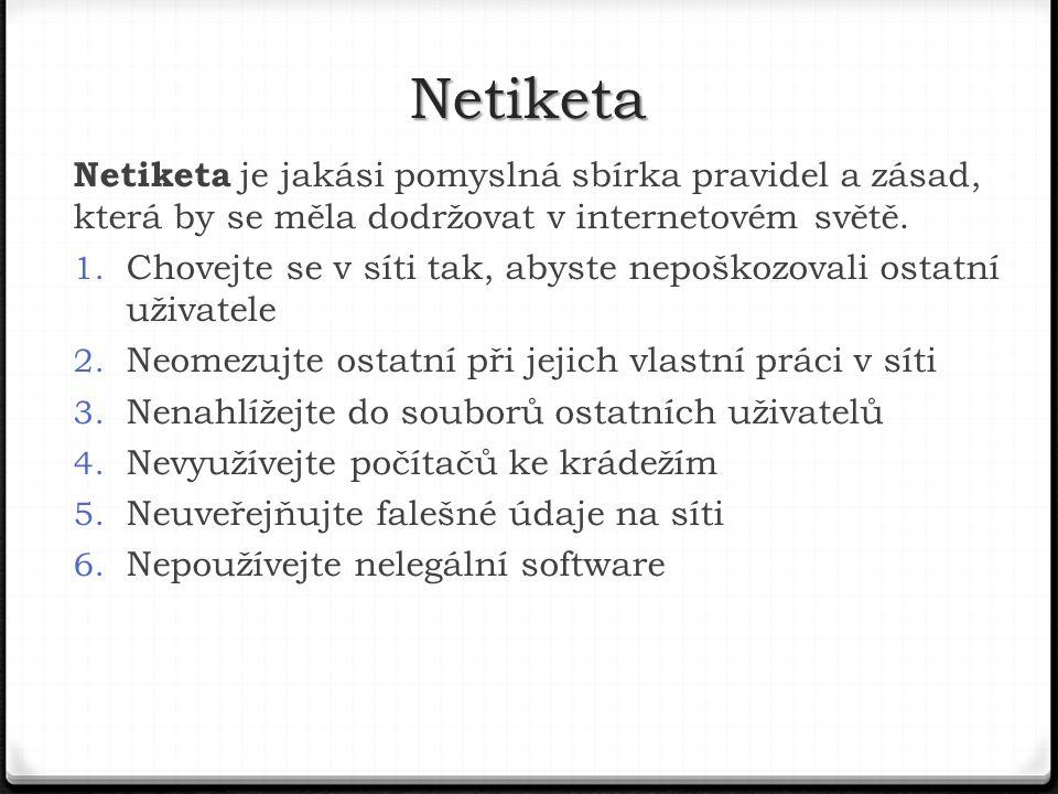 Netiketa Netiketa je jakási pomyslná sbírka pravidel a zásad, která by se měla dodržovat v internetovém světě.