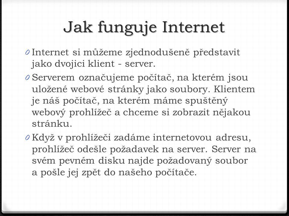 Jak funguje Internet Internet si můžeme zjednodušeně představit jako dvojici klient - server.