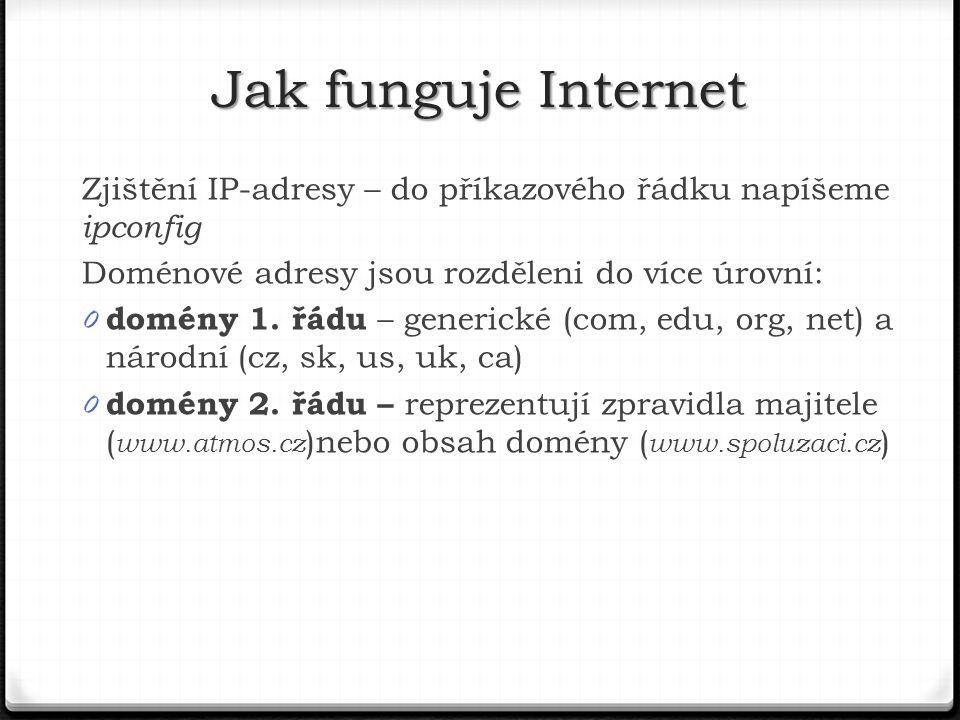 Jak funguje Internet Zjištění IP-adresy – do příkazového řádku napíšeme ipconfig. Doménové adresy jsou rozděleni do více úrovní: