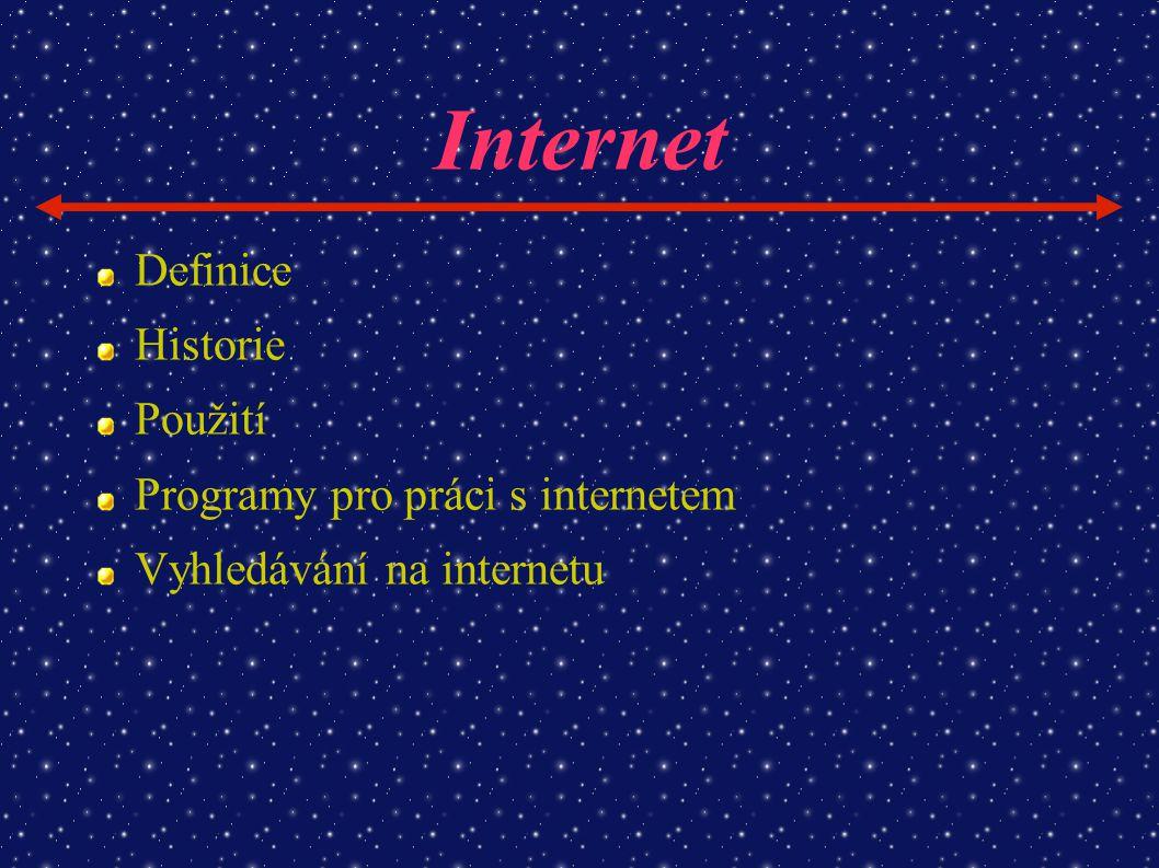 Internet Definice Historie Použití Programy pro práci s internetem